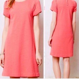 Anthropologie Maeve Pink Diamond Print Shift Dress